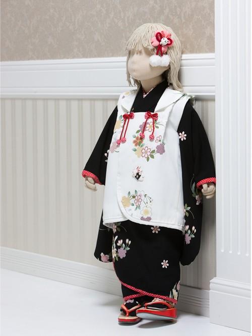 【3歳女児】七五三<レンタル> 黒着物・白被布セット うさぎと花輪