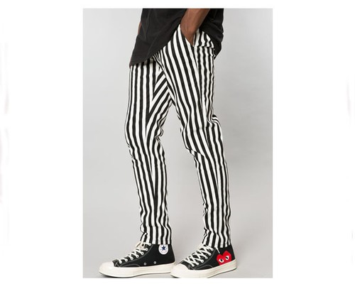 ELWOOD	 エルウッド EMB026890 001スト BLACK/WHITE STRIPED STRETCH TWILL TAPERED CHINO PANT パンツ