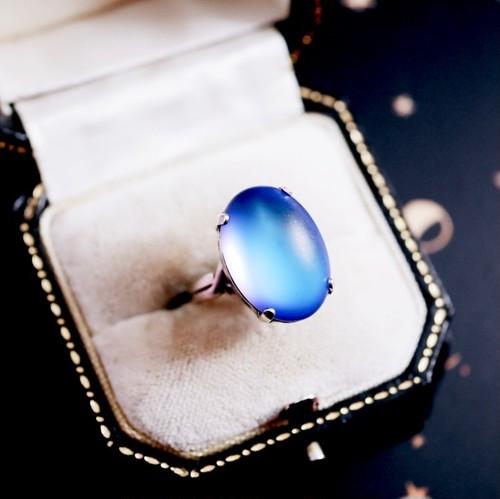 マットディープブルー チェコプレシオサ社ガラス リング(指輪)