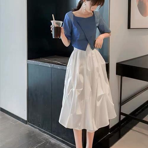 【set】絶対流行ファッション2点セット高級感 シンプル無地トップス+スカート M-0447