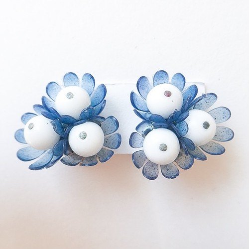 blue flower earring[e-580]