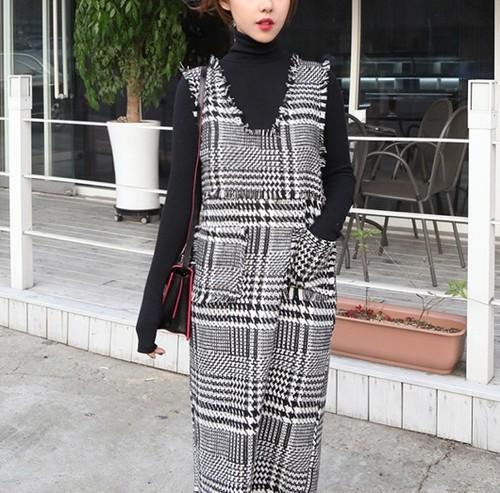 glen check dress and knit set(s_6)