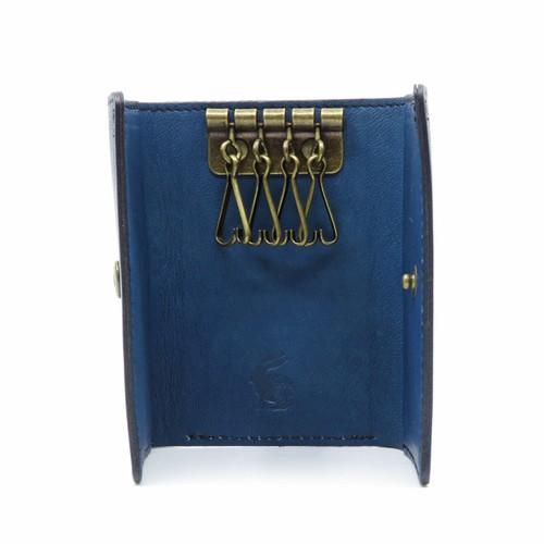 藍染め革のキーケース