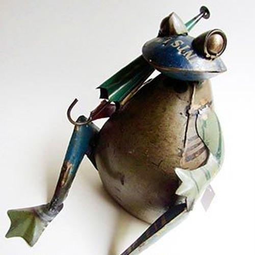 カエルアイアン人形 フロッグウィズアンブレラ