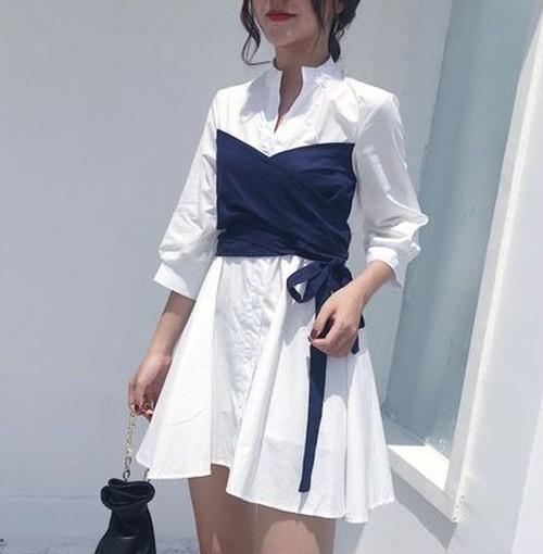 【新作10%off】fake 2piece shirts dress 3387