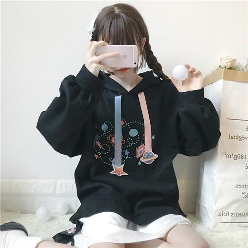 【セットアップ】スウィート学園風刺繍パーカー+キュートスカート二点セット