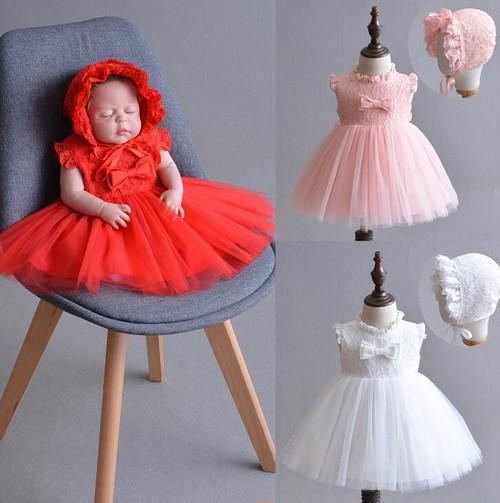 8479ドレス キッズ ベビー 女の子ドレス フォーマルドレス 赤ちゃん 出産祝い お宮参り 新生児 ワンピース 白 赤 ピンク 3M6M12M24M