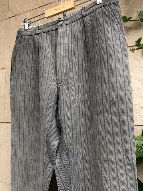 "1940s-50s French stripe pattern work trousers ""Le Mont St Michel"""
