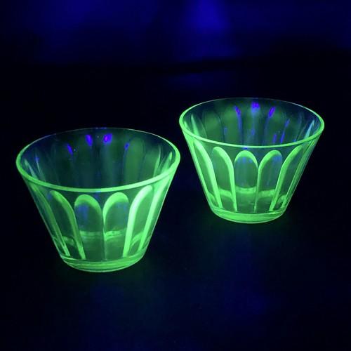 【再入荷】ウランガラス ヘーゼルアトラス カスタードカップ 2個セット
