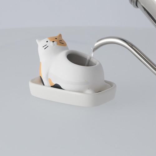 素焼き加湿ポット 三毛猫(ねこ ネコ キャット みけ ミケ Cat)