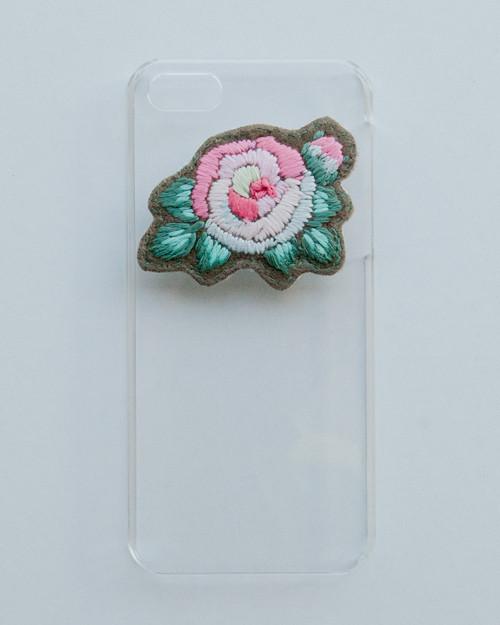 刺繍のクリアケース・rose/iphone5.5S.SE
