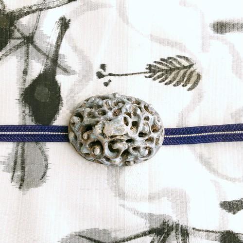 在銘有り 陶器製 龍 帯留・帯締めセット