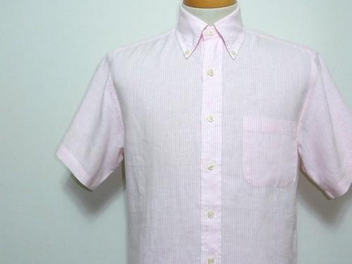 Brooks Brothers アイリッシュリネンストライプBDシャツ S/S 表記(S) ブルックスブラザーズ 半袖