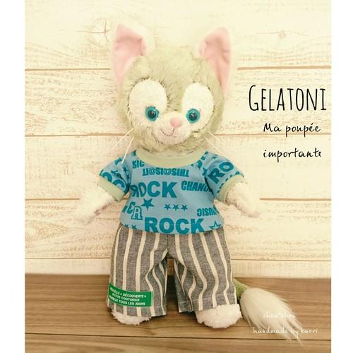 【ラスト1】ジェラトーニ*ROCKなTシャツ×ストライプのパンツのコーデセット