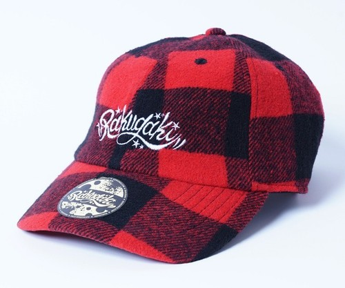 2018 RAKUGAKI Main Logo Check Dad Cap Red buffalo check