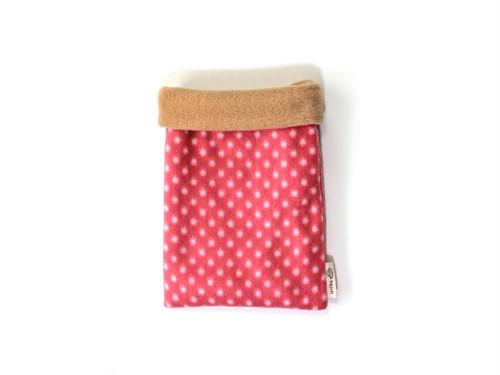 ハリネズミ用寝袋 S(冬用) フリース×フリース 水玉 ピンク