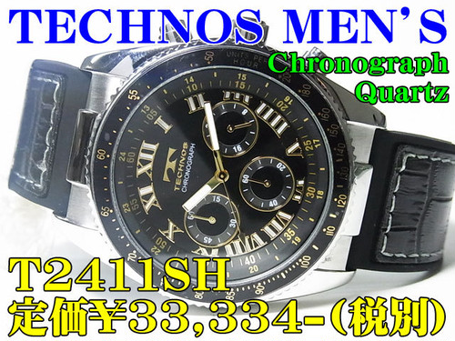 TECHNOS テクノス MEN'S Chronograph Quartz T2411SH 定価¥33,334-(税別) 新品