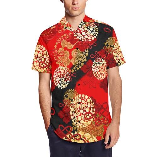 家紋装飾赤 和柄アロハシャツ