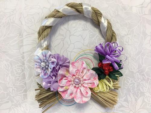 ハワイアンリボンレイ【(レシピなし)お花がいっぱいのしめ縄リース】 キット
