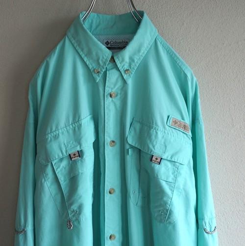 "[Columbia] ""PFG"" OMNI-SHADEテクノロジー L/S フィッシングシャツ シーグリーン 表記(M) コロンビア"