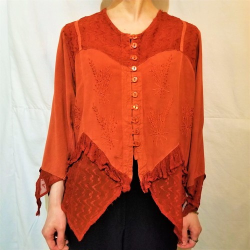 Embroidery lace blouse [K-1435]