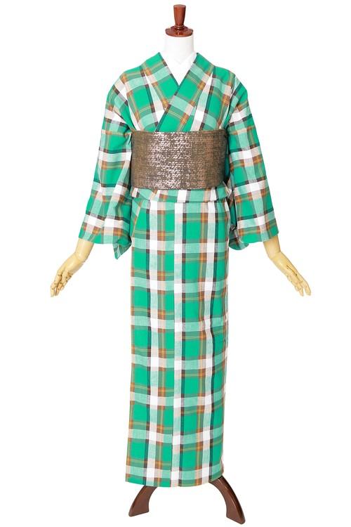 片貝木綿 単衣きもの 仕立て上がり 格子№502 グリーン系