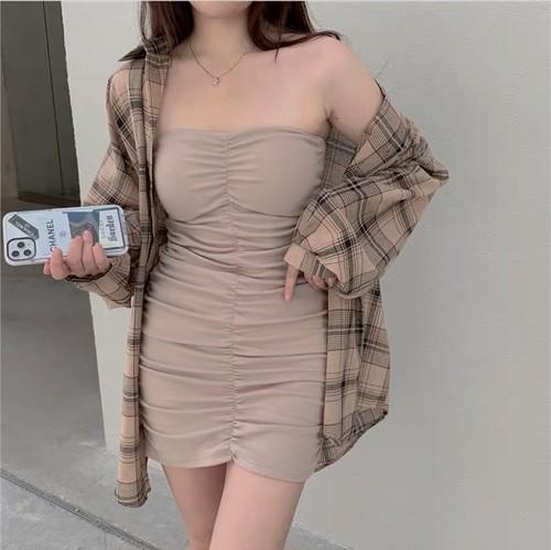check shirt dress set