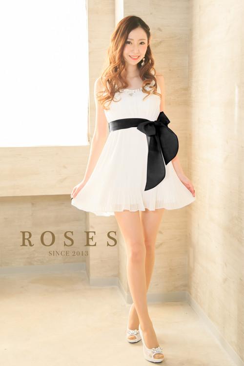 ROSES♪シフォンプリーツワンピースミニドレス♪ブラック【r-252】