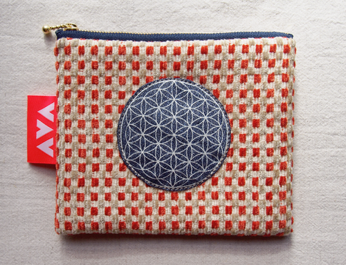 Flower of life wool pouch