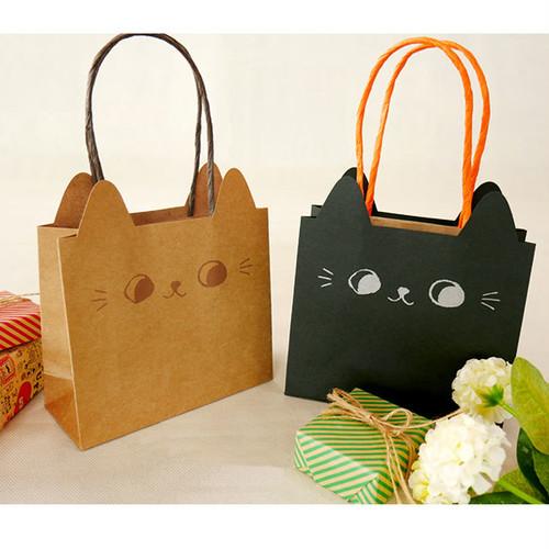 ラッピングバッグ 猫耳手提げ紙袋(小)
