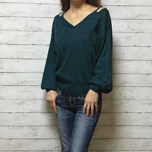 open shoulder ニット セーター(blue green)