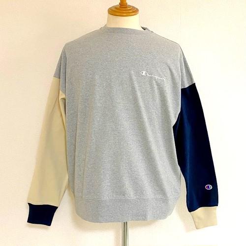 Color Block Long Sleeve T-shirts Oxford Gray