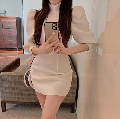 puff sleeve mini dress 2color