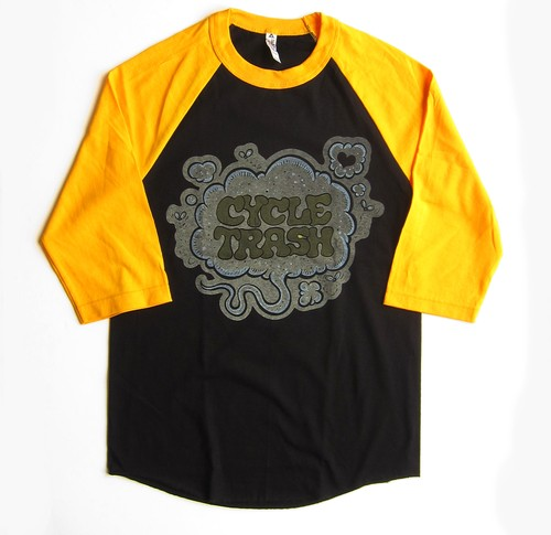 Cycle Trash 21th anniversary baseball Tee - Black/Gold Fart-f/c by Burrito Breath