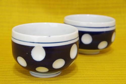 まぁるい水玉の湯呑み 2客セット アイスクリームカップや小鉢にも シンプル 昭和レトロ 古道具
