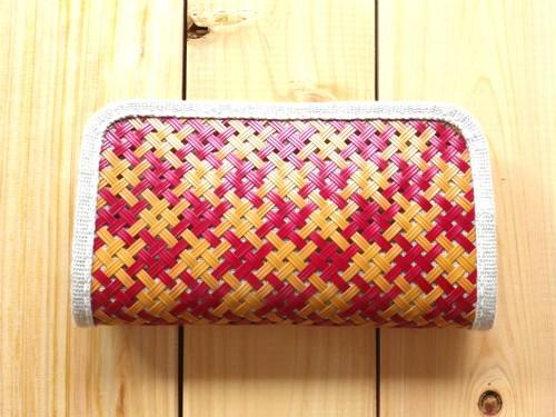 竹と麻の財布・大 四つ目編み漆仕上げ・交色赤白