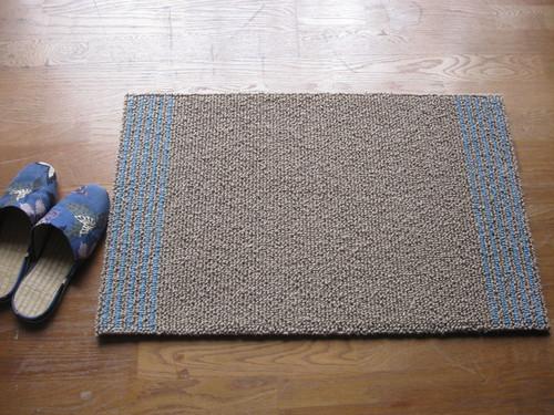 月山緞通 伍麻縞 藍 Gmajima ai 玄関マット 50cm×80cm