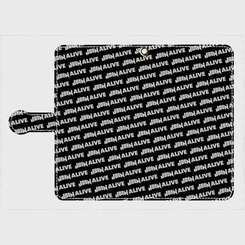 (通販限定)【送料無料】Lサイズ-手帳型スマホケース ストライプ_ブラック
