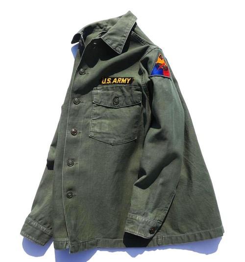 1960's [U.S.ARMY] コットンサテン ファティーグシャツ 実寸(S位) アメリカ軍