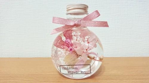ハーバリウム 猫びん ピンク花束