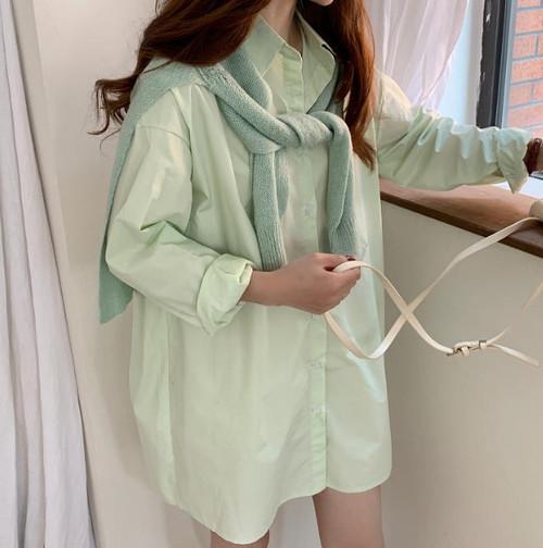 3色 シャツ ブラウス トップス 長め丈 羽織 長袖 無地 ゆったり 大人可愛い カジュアル シンプル 韓国 オルチャン ファッション