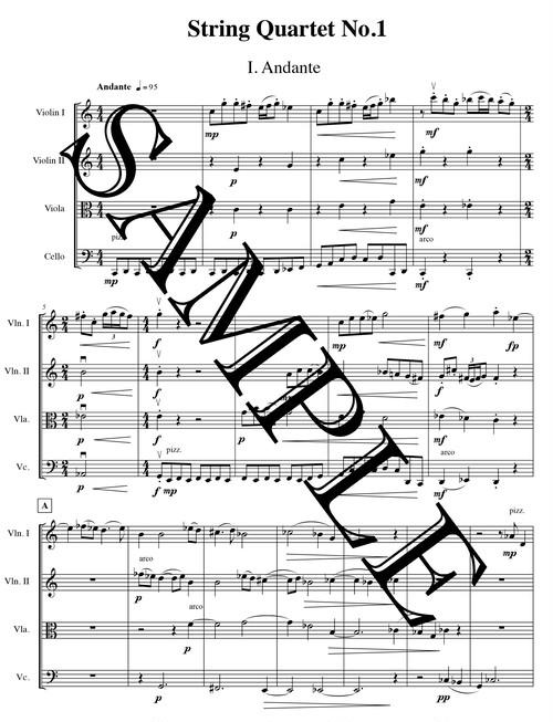 楽譜/弦楽四重奏曲(清水響)スコア