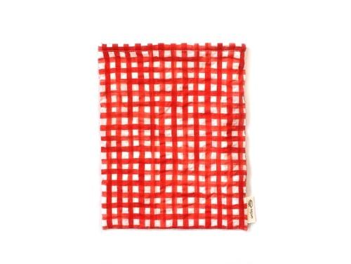 ハリネズミ用寝袋 M(夏用) 綿リップル×スムースニット チェック レッド