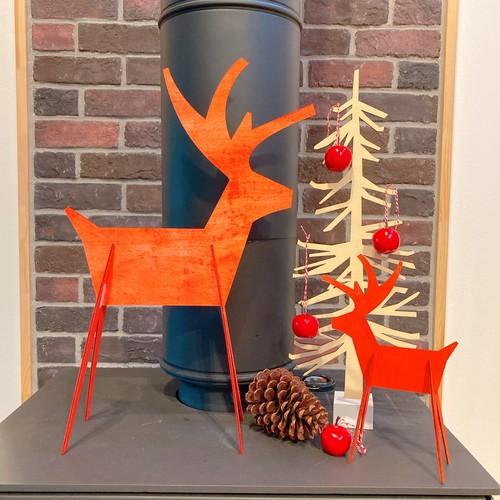 アルペンレインディア親子 トナカイ クリスマスディスプレイ 木製 2つセット 赤 組み立て式