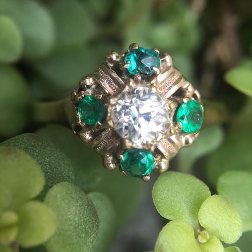 Diamond & Emerald  Victorian Ring