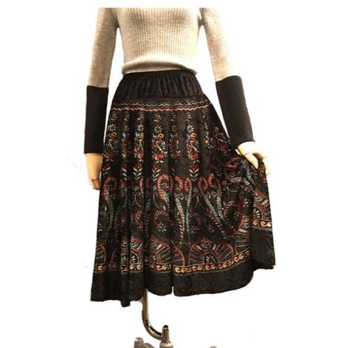 【SALE】ペイズリー柄ベロアAラインスカート【VINTAGE】