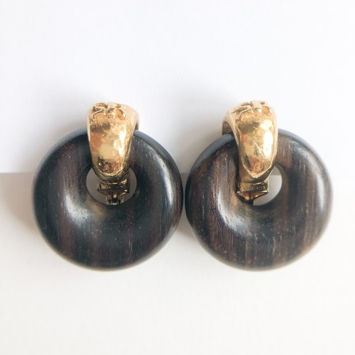 """SONIA RYKIEL"" wood earring[e-1208] ヴィンテージイヤリング"
