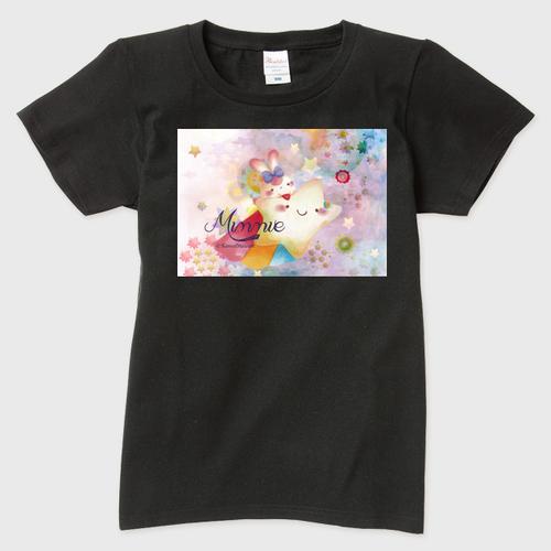 夜空のTシャツ レディース 黒  Lサイズ ガーメントインクジェット印刷