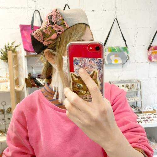 【LuLu de chapeau】パッチワークベレー帽(ブラック×ピンク×イエロー)