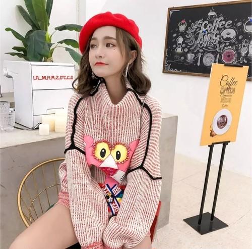 【送料無料】トラ ピンク 刺繍 ニット ワンピース 韓国 ビーズ レトロ ヴィンテージ トップス オーバーサイズ